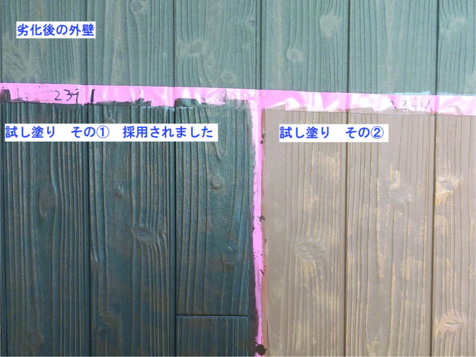 実際の外壁に試し塗りを行いました